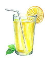 Lemonade with lemon and mint. Image of a drink. Watercolor hand drawn illustration.