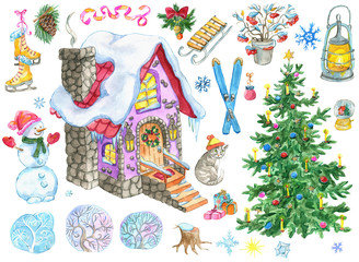 Christmas and New Year design set with country house, decorated fir tree, snowman, skates, holiday objects. Hand painted winter watercolor clip art illustrations isolated on white background