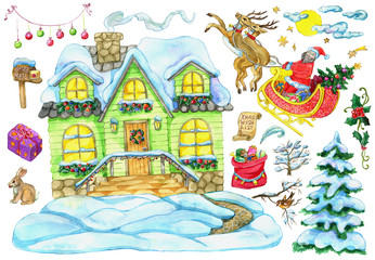 Christmas and New Year design set with country house, Santa with deer, gifts, holiday objects. Hand painted winter watercolor clip art illustrations isolated on white background