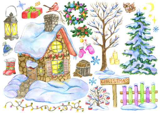 Christmas and New Year design set with country house, fence, fir tree, festive holiday objects. Hand painted winter watercolor clip art illustrations isolated on white background