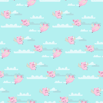 Seamless pattern with funny flying pink pigs