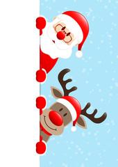 Vertical Banner Santa & Rudolph Snow Light Blue
