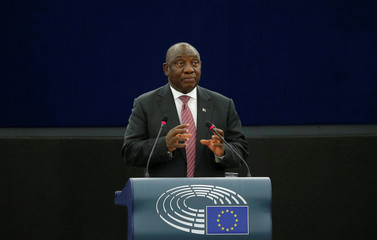 South African President Ramaphosa addresses the European Parliament in Strasbourg