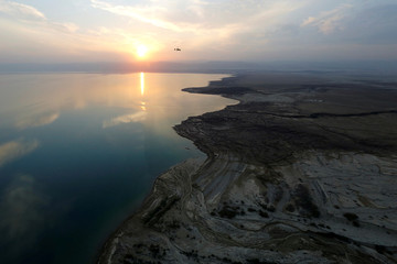 The Royal Aero Sports Club of Jordan planes known as gyrocopters fly to provide tourists and visitors with a bird's eye view of the Dead Sea