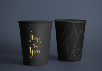 Happy new year greeting design mockup