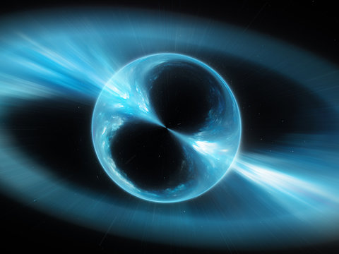 Blue mysterios object in space gamma ray burst