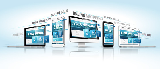 Cyber Monday Online Sale Web Design Concept. Vector