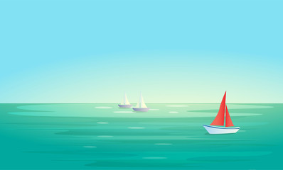 Vector landscape background with blue sea or ocean , red and white boats (ships). Place for text. Minimalistic marine landscape. Eps 10