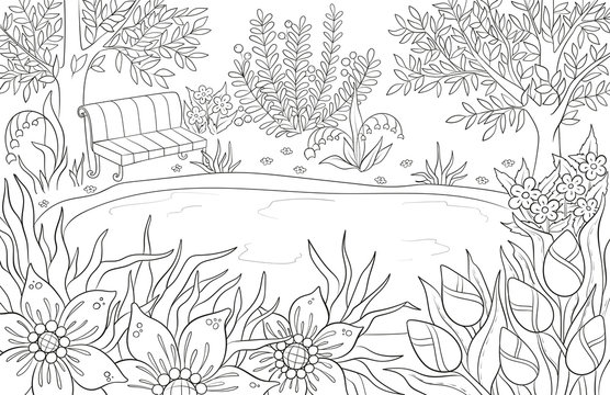 Coloring page for adult and kids coloring book or bullet journal. Summer landscape with bench, tees, leaves, flowers and lake. Black and white scenery vector background.