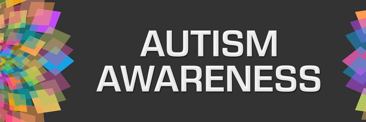 Autism Awareness Dark Colorful Floral Left