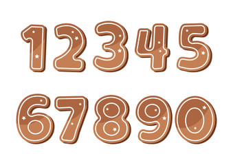 Set of ginger cookies numbers. Vector illustration
