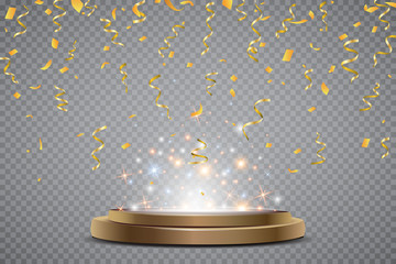 Colorful bright confetti and round podium isolated on transparent background. Festive Vector Illustration