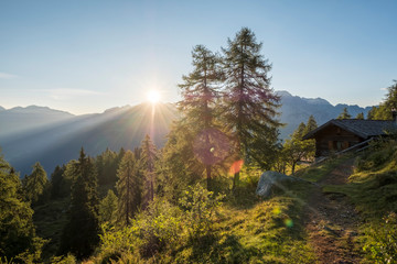 Italy, Trentino, Rendena valley, Brenta mountain range at sunrise