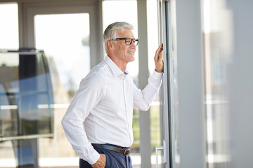 Confident businessman standing in office, looking out of window