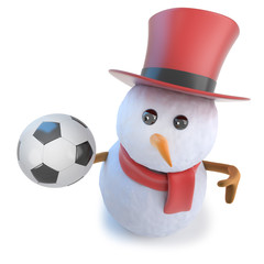 3d Funny cartoon snowman wearing a top hat and holding a soccer ball football