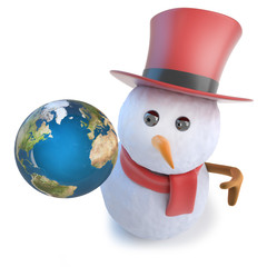 3d Funny cartoon snowman wearing a top hat and holding a globe of the Earth planet