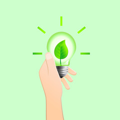 Hand holding light bulb with leaf inside as green energy concept. Vector illustration.