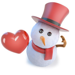 3d Funny cartoon snowman wearing a top hat and holding a romantic red heart of love