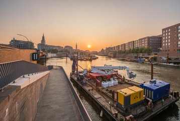 Germany, Hamburg, Inland harbour in the morning