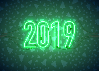 Happy New Year with neon sign 2019 on dark background. Christmas related ornaments objects on color background. Greeting Card Ready for your design. Vector Illustration.