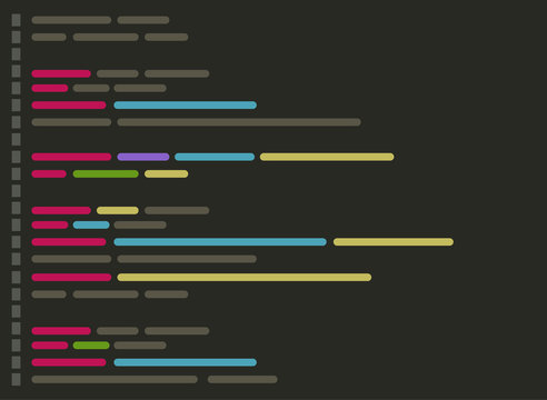 Code on screen vector illustration, flat cartoon coding or programming script text on monitor display, code editor screenshot