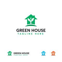 Green House logo designs concept vector, Nature House logo template