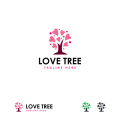 Love Tree logo designs concept vector, Charity Life Tree logo template