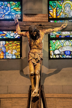 Life size wooden crucifix at the Manila Cathedral, Philippines