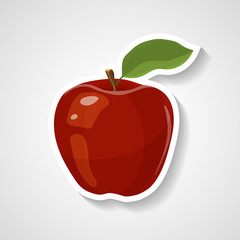 Apple sticker vector illustration. Cartoon sticker with white contour in comics style.