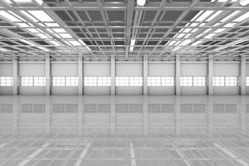 Architecture visualization of an empty warehouse, 3D Rendering