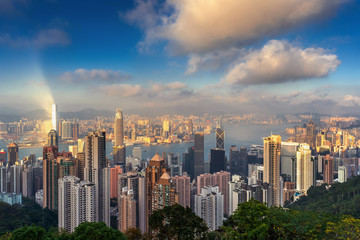 Fototapete - Hong Kong cityscape from the Victoria peak.