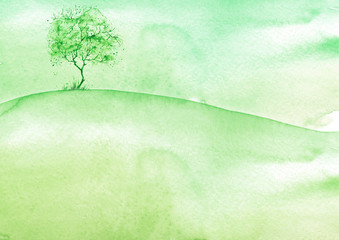 Watercolor vintage bush, a tree in green color. Summer, spring day. Abstract spots, shore, sky, watercolor landscape. Countryside landscape with a green tree on a hill.