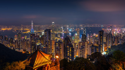 Wall Mural - Hong Kong cityscape at night from the Victoria peak.