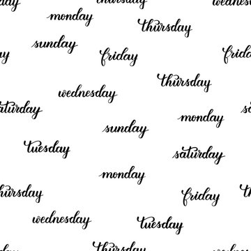 days of the week brush calligraphy