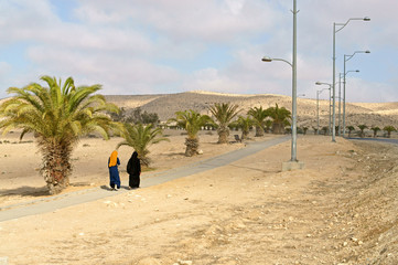 Two women in Sde Boker. Negev desert of southern Israel