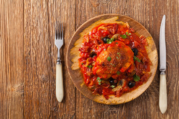 Traditionally made chicken in tomato sauce cacciatore.