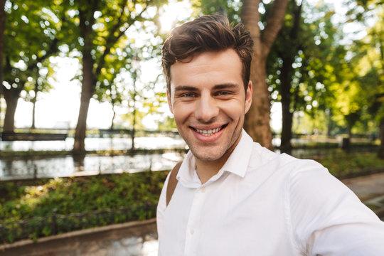 Happy young businessman wearing shirt