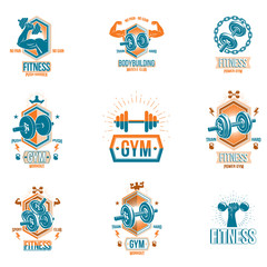Vector fitness and athletics theme symbols and motivational posters collection composed using dumbbells, kettle bells sport equipment and bodybuilder body shapes.