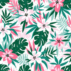 Hawaiian seamless pattern with pink flowers and green leaves. Stylish floral endless print for summer fabric design. Vector illustration.