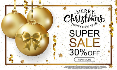 The Christmas sale horizontal banner template. Advertising poster for the store. White gold banner for website or flyer. Realistic vector. EPS10.