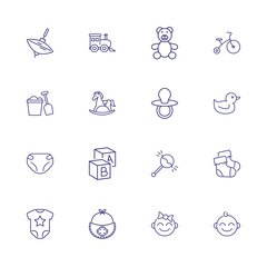 Baby line icon set. Diaper, teddy bear, crib. Child care concept. Can be used for topics like toys, nursery, children room