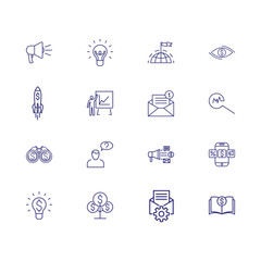 Startup line icon set. Brilliant idea, speaker, leadership. Business concept. Can be used for topics like management, money making, internet marketing