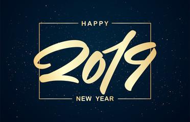 Vector illustration. Golden Handwritten brush type lettering of numbers 2019. Happy New Year