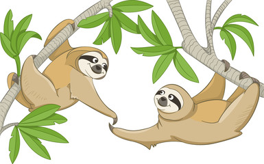 Two smiling animals sloths hang on the branches of trees and stretch their paws to meet each other. Vector on a transparent background