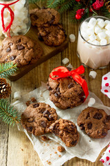 Baked Christmas cookies. Homemade Chocolate Chip Cookies on a wooden table.