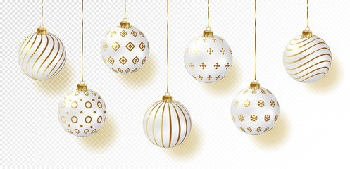 white color christmas balls icon set, realistic style, vector illustration.