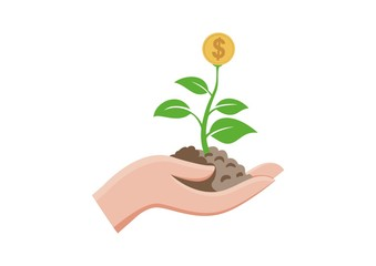 Isolated green sprout with flower coins money growing in hand