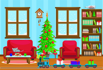 Vector illustration of Christmas living room with Christmas tree, gifts, sofa, table with treats, snow-covered windows, and a toy railway with a locomotive.