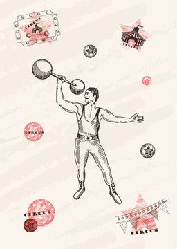 Vector card design. Strongman with mustache . Retro circus performance. Pen style drawing.