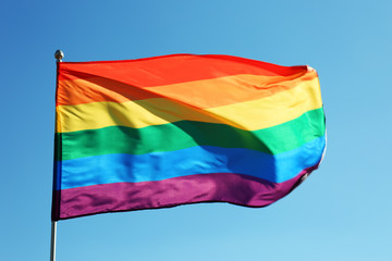 Rainbow LGBT flag fluttering on blue sky background. Gay rights movement